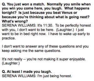 Aquí el intercambio entre Serena y el reportero.